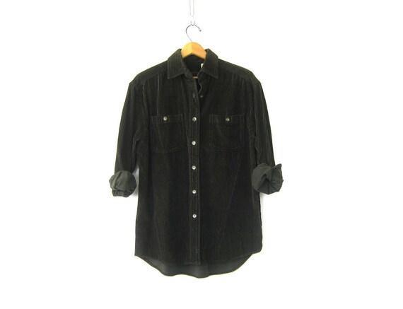 Dark Green Ribbed Shirt Button Up Corduroy OXFORD Shirt 90s Oversized Preppy Shirt Vintage Soft Rugged Boyfriend Shirt Women's Size Small