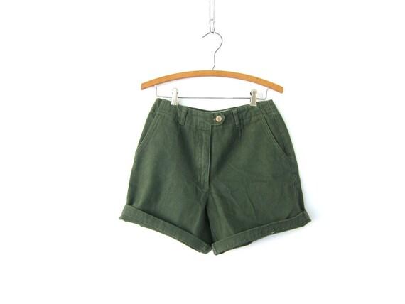 Vintage Dark Safari Green Shorts 90s High Rise Soft Cotton Shorts High Waist Shorts Preppy Mom Shorts Summer Shorts Womens Size 4 Small