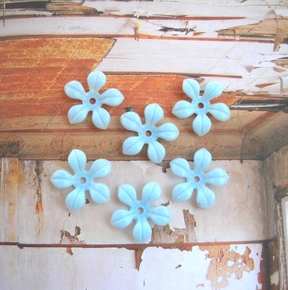 Light Blue Soft Plastic Flower Bead Vintage Flower Bead