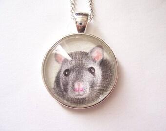 Silver Pendant Rat Jewelry, Pet Rat Gift, Original Miniature Drawing, Rat Necklace, Grey Rat Wearable Art, Pendant Necklace