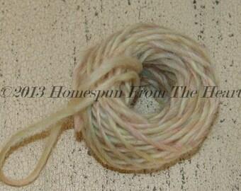 Wool Doll Hair Jelly bean pink blue on cream, raggedy doll hair, yarn, rag doll