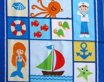 "24"" Nautical Fabric Panel - Benartex Seaside Holiday Crab Fish Sailboat Blocks"