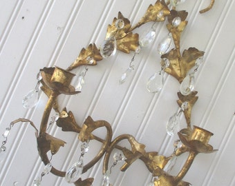Vintage Tole Candlestick Holder Wall Sconce * Chandelier Prisms * Shabby Chic * Paris Apt. * French Cottage
