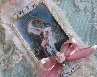 Virgin Mary Gift Tag Mixed Media Art Tag Catholic Gift Religious Card