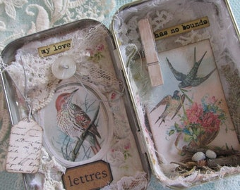 Mixed Media Bird Shadow Box Vintage Bird Altoid Tin Art Bird Shadow Box Shabby Bird Art  Spring Decor