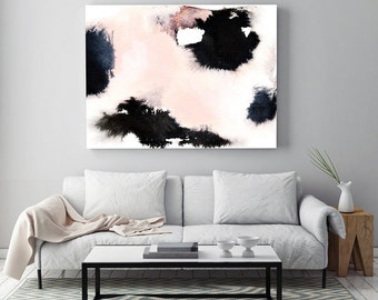 """Abstract Painting """"Soft Memories"""" by Jules Tillman Fine Art Lustre Print modern abstract watercolor painting white soft pink black minimal"""