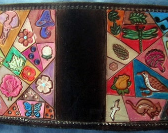 Leather Single Fold Wallet with Hidden Pocket  OOAK Crazy Quilt Design Hand  Made in GA USA