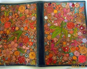 Bluish Green  Border Leather Jr Legal Pad Cover with  Flower Garden Design Made in GA USA OOAK