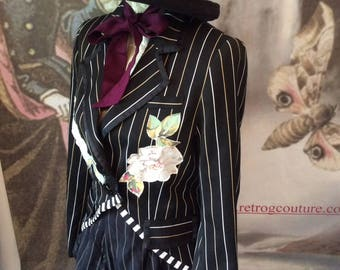 SALE Gothic jacket Tailcoat tux vintage roses goth gypsy boho festival clothing  teaparty gardenparty 36 chest coupon code RGCSALE