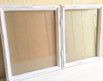 Farmhouse Style Rustic Distressed White Wood Double 8x10 Picture Frame Folding Wooden Shabby Chic