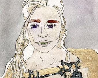 Daenerys Targaryen - Game of Thrones - Watercolor Illustration Art Print