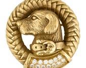 Vintage Barry Kieselstein Cord 18K Gold Diamond Brooch  Pin with Retriever Dog