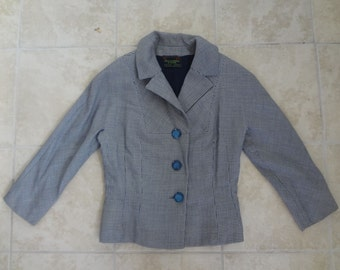 Vintage 1950s Navy Blue and White Houndstooth Jacket from Abercrombie and Fitch