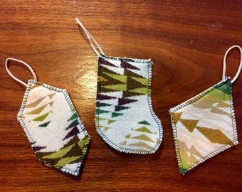Christmas Ornament Set of 3 Wool Green Pecos Southwestern Tribal Handcrafted Using Fabric from Pendleton Woolen Mill