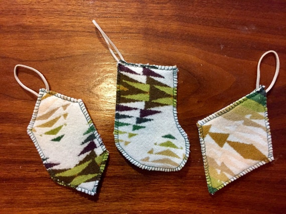 Christmas Ornament Set of 3 Wool Green Pecos