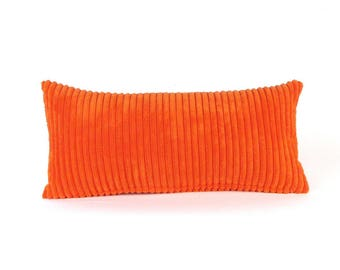 Corduroy Pillow ~ Orange Lumbar Pillow ~ Red Orange Toss Pillow ~ Small  Orange Pillow ~