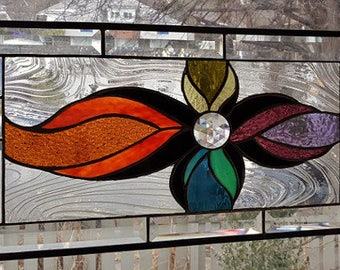 SIMPLE PLEASURES Stained Glass Window Panel (Signed and Dated)