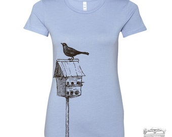 Womens BIRDHOUSE hand screen printed T Shirt s m l xl xxl (+ Colors Available)