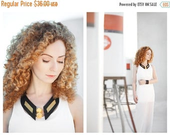 "40% OFF SALE Leather bib necklace with wood beads  Leather jewelry ""Geometry of Metamorphose"" collection"