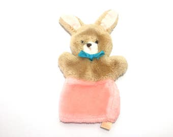 Vintage Bunny Rabbit Hand Puppet, Animal Fair Plush Puppet, Soft Brown and Pink Bunny Puppet, Easter Puppet, Vintage Hand Puppet
