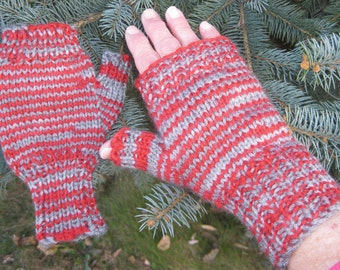 Grey and Red Striped Half Mitts - Size Average