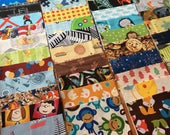 100 5 inch quilt squares - charm pack - Great for I Spy or rag quilt kit - Gender Neutral / Boy prints - LOT B