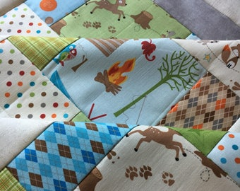 Fox Trails Unfinished quilt top - by Doohickey Designs for Riley Blake Designs - 38 in x 38 in baby gift / ready to quilt / gender neutral