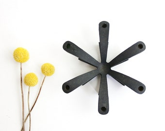 Mid Century Modern Starburst Candle Holder / Cast Iron Starburst Candle Holder / Danish Modern Tiny Taper Candle Holder