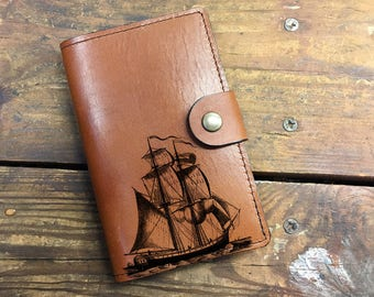 Ship Leather Journal, Leather Sketchbook, Leather Passport cover, moleskin Journal, field notes journal, moleskin cover