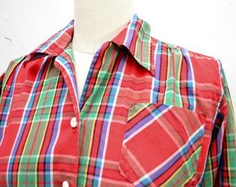 Vintage PLAID Long Sleeve LADIES shirt smaller size