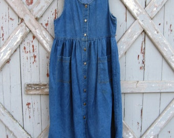 vintage 1980s Ivy Club Classics denim dress M L