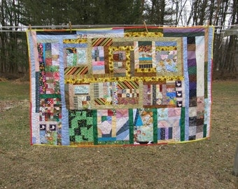 Scrappy Tied Summer Quilt with Repurposed Pillowcase Backing Clearance 40% off