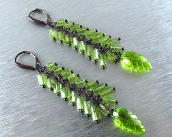 25 % OFF Long Peridot With Oxidized Sterling Silver Earrings