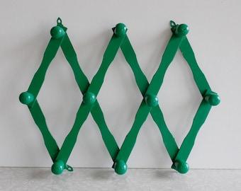 accordion coat or hat rack, vintage folding coat rack, foldable wood rack, kelly green, bright green, painted wood coat rack, multi hook