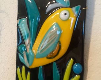 Yellow Turquoise Fused Glass Whimsical Bird Wall Art Plaque Plate Nursery Gift