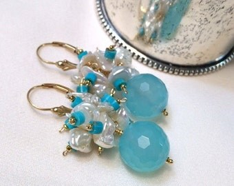 30% SALE Turquoise Cluster Earrings Keishi Pearl Blue Chalcedony Gemstone Wire Wrap Cluster Blue Faceted Stones, Gold Filled Turquoise Earri