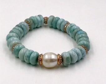 Larimar Gemstone Stretch Layering Bracelet Pave Rose Gold CZ Bead Yoga Bracelet Stacking Bracelet Ivory Pearl Blue Larimar Stack Bracelet