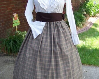 Civil War Reenacting Skirt, Dickens costume Long Drawstring Skirt or Brown Sash one size fits all Brown, Ivory, Rust plaid, Handmade
