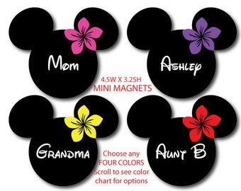 Disney Inspired 4-Pack Hawaiian Plumeria Mini Size Mouse Head Magnets - Choose Any Four - For Your Disney Cruise