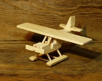 Wood Toy Airplane Alaska bush plane float plane boys kids child birthday seaplane Wooden Toys Air Plane