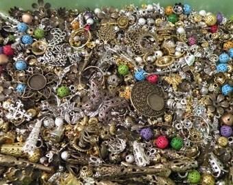 MEGA METAL MIX Beads Lot Jewelry Making Supplies Bonus Sterling Crimps