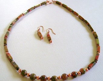 Green and Coral Unakite Rectangles and Rounds with Copper Necklace and Earring Set by Carol Wilson of Je t'adorn