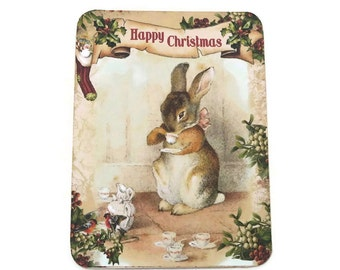 Christmas Rabbit Note Cards, Blank Note Cards,  Vintage Retro Style, Bunny Rabbit Notes, Happy Christmas, Merry Christmas Australia