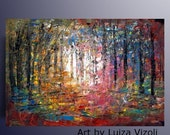 SALE Hand Painted Landscape Original Painting Abstract Oil Impasto on Canvas by Luiza Vizoli SPRING SUNRISE 30x20