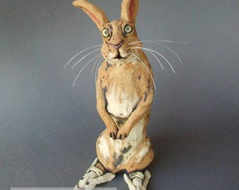 Bunny in Bunny Slippers Whimsical Ceramic Rabbit Sculpture