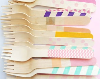 Unicorn Mix Variety Wooden Utensils - 20 Forks Spoons & Knives