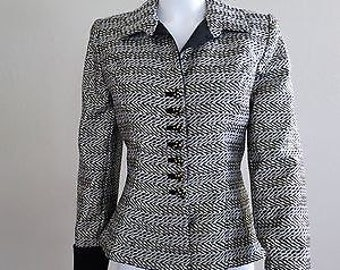 Victor Costa - Very AB FAB - Silver Lamé Black Jacket-Fit & Flare Style NWOT 1990s