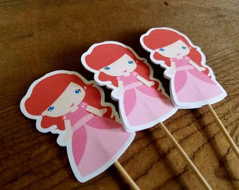 Ariel & Friends Party - Set of 12 Ariel Cupcake Toppers by The Birthday House