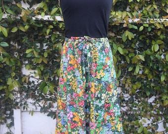 70s 80s drawstring cinch waist tea length ditsy floral skirt