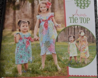 "Ava Tie Top by Izzy and  Ivy Designs in sizes 2T-14 plus 18"" & 15"" dolls  (uncut)"